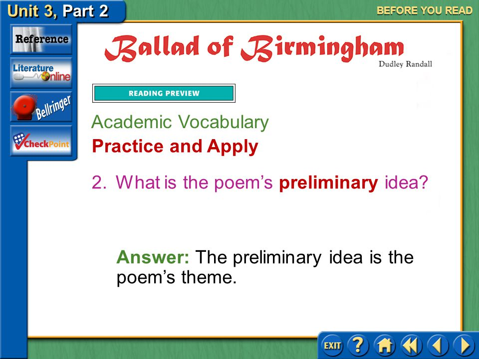 What is the poem's preliminary idea