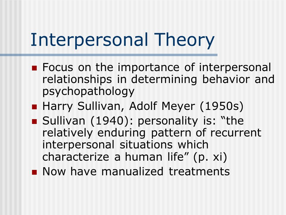Interpersonal Theory Focus on the importance of interpersonal relationships in determining behavior and psychopathology.