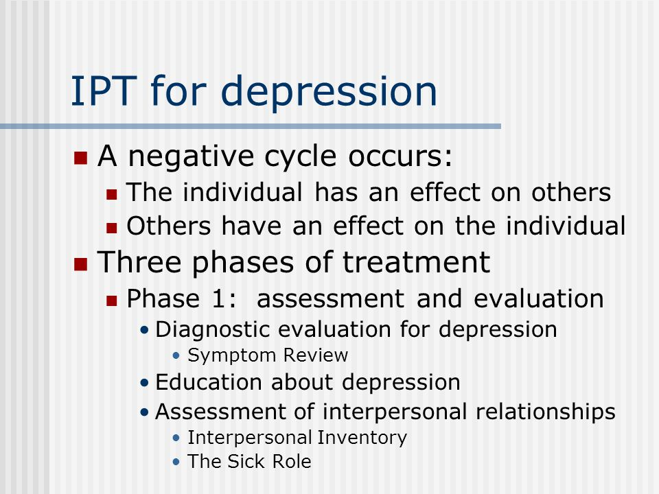 IPT for depression A negative cycle occurs: Three phases of treatment