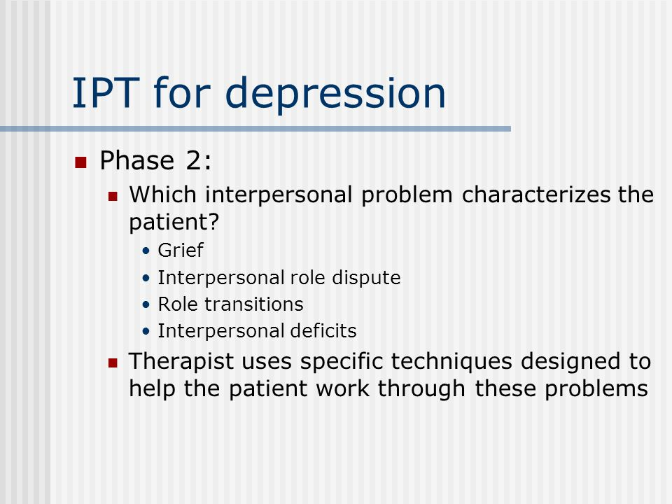 IPT for depression Phase 2: