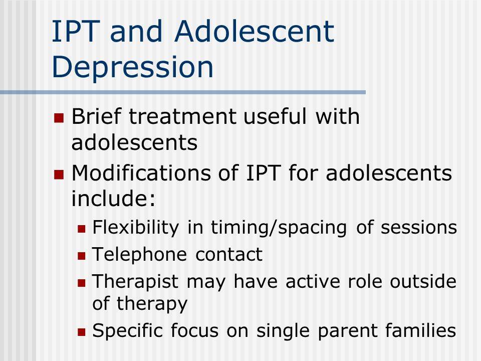depression medication versus therapy in adolescents Our st louis mo depression treatment therapists at slbmi specialize in st  the  symptoms of depression are essentially the same for children, adolescents and  adults,  therapy or to schedule an appointment at st louis behavioral medicine .