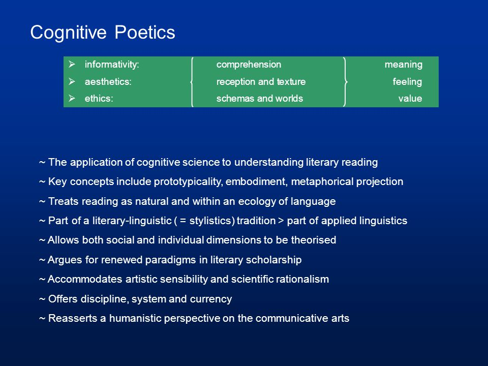 Cognitive Poetics informativity: comprehension meaning. aesthetics: reception and texture feeling.