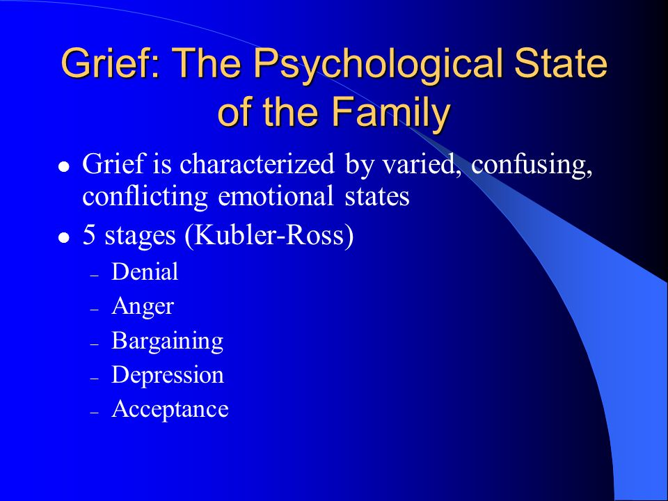Grief: The Psychological State of the Family