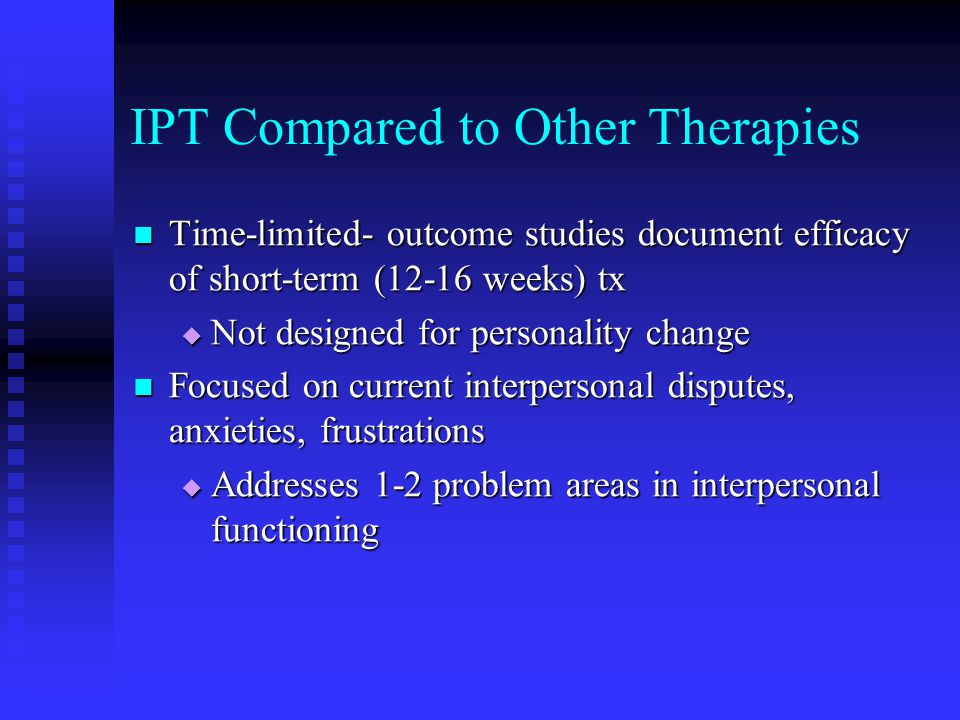IPT Compared to Other Therapies