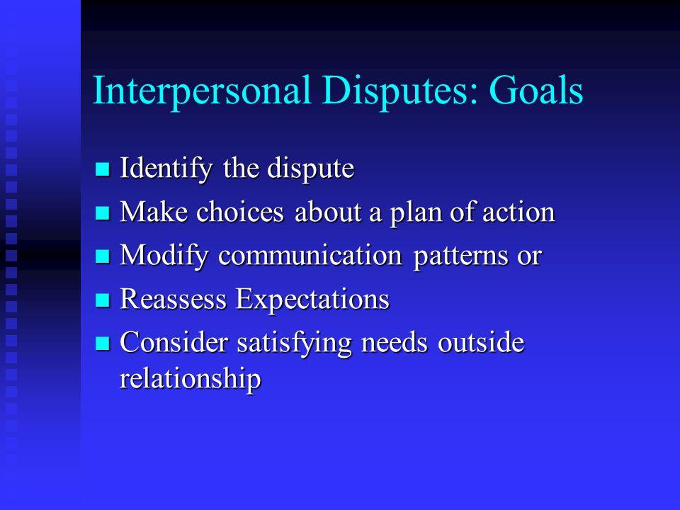 Interpersonal Disputes: Goals