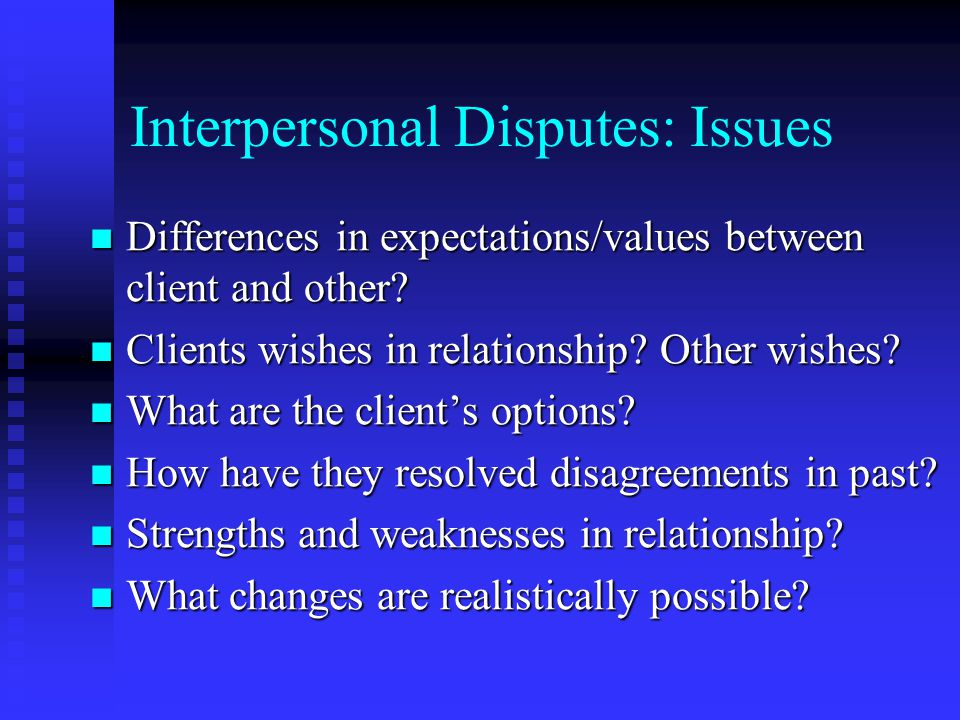 Interpersonal Disputes: Issues