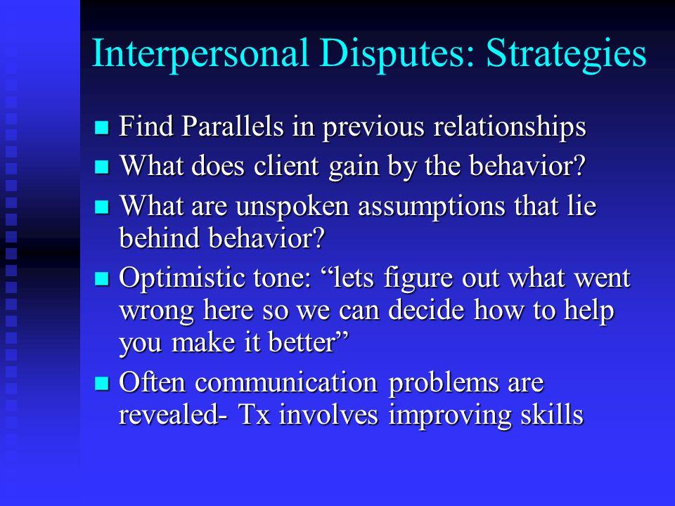 Interpersonal Disputes: Strategies