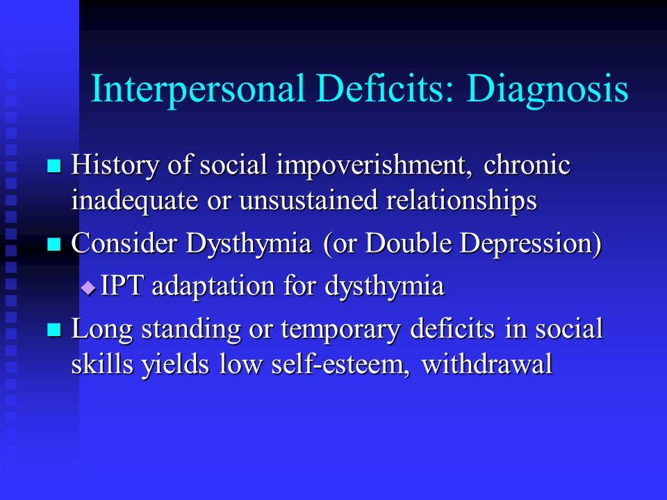 Interpersonal Deficits: Diagnosis