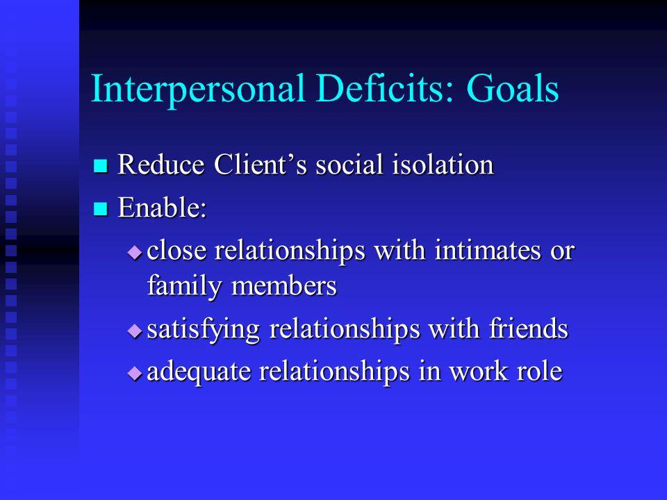 Interpersonal Deficits: Goals