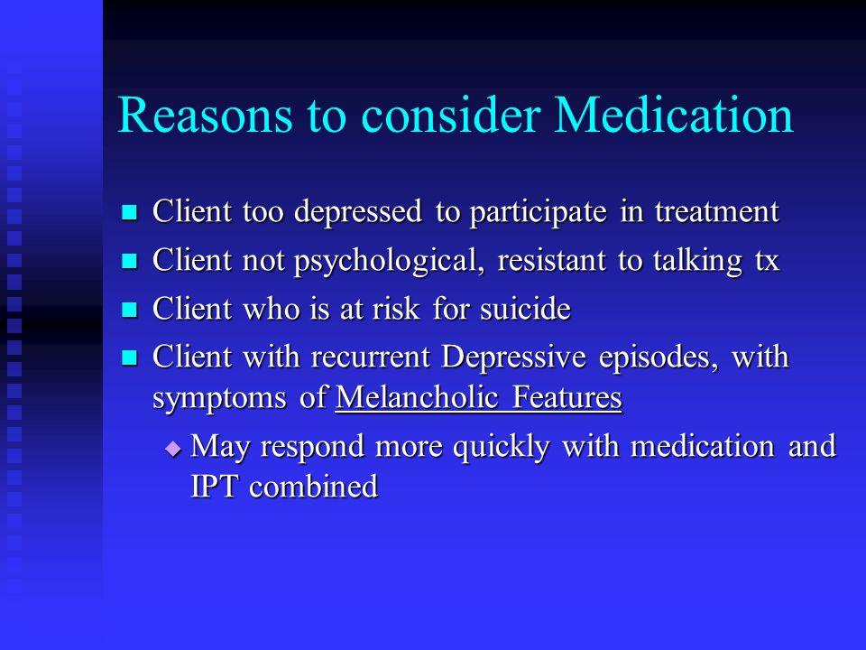 Reasons to consider Medication