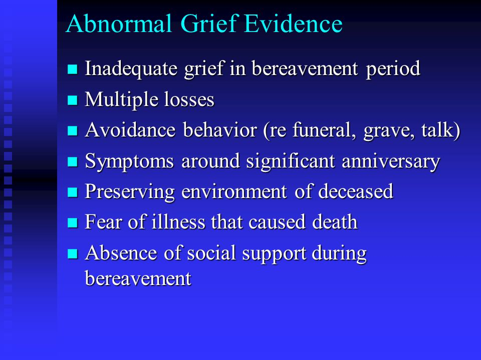 Abnormal Grief Evidence