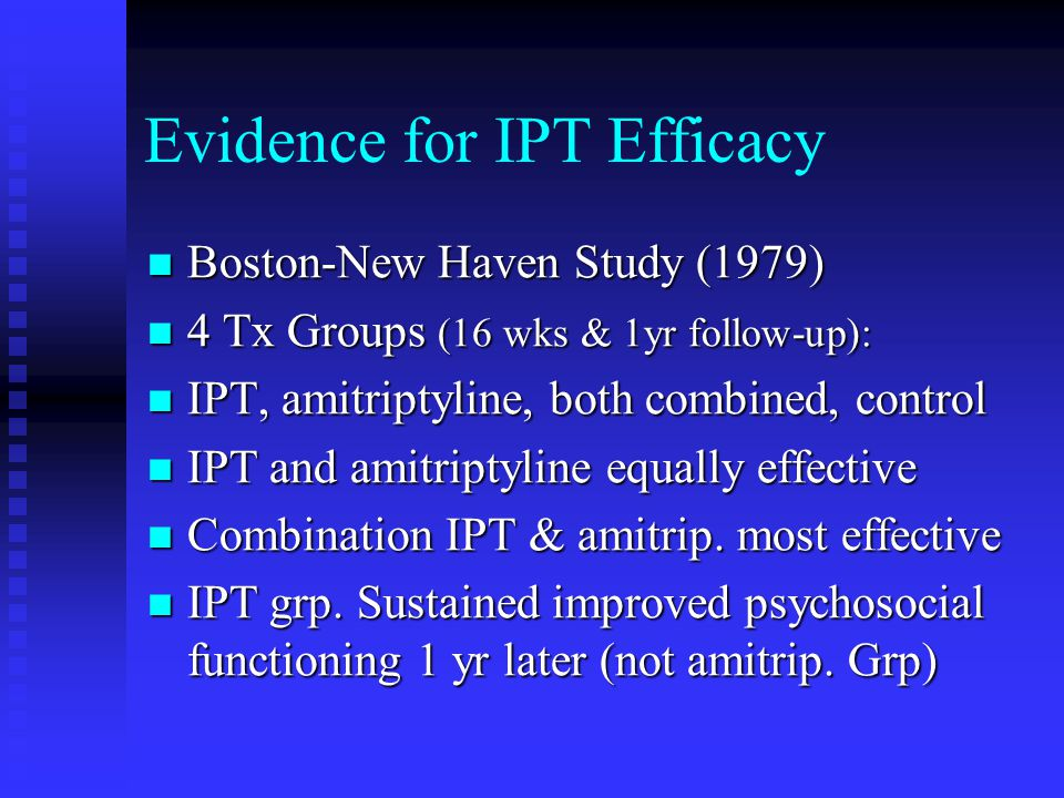 Evidence for IPT Efficacy