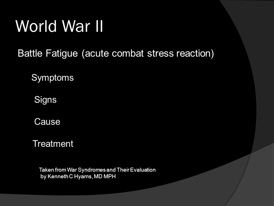 World War II Battle Fatigue (acute combat stress reaction) Symptoms