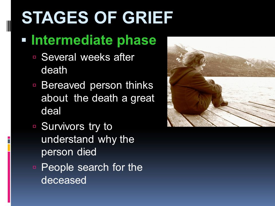 STAGES OF GRIEF Intermediate phase Several weeks after death