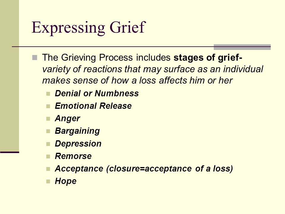 Expressing Grief