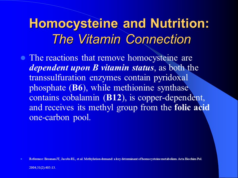 Homocysteine and Nutrition: The Vitamin Connection