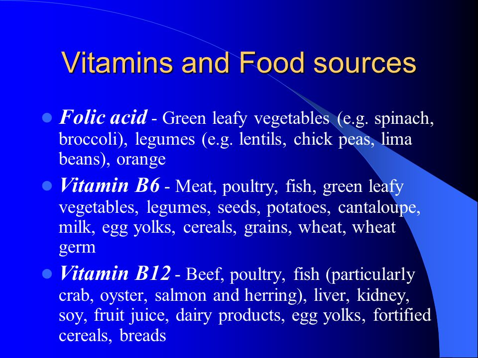 Vitamins and Food sources
