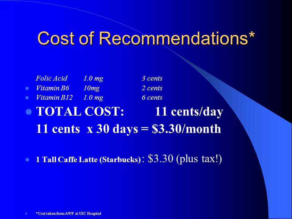 Cost of Recommendations*
