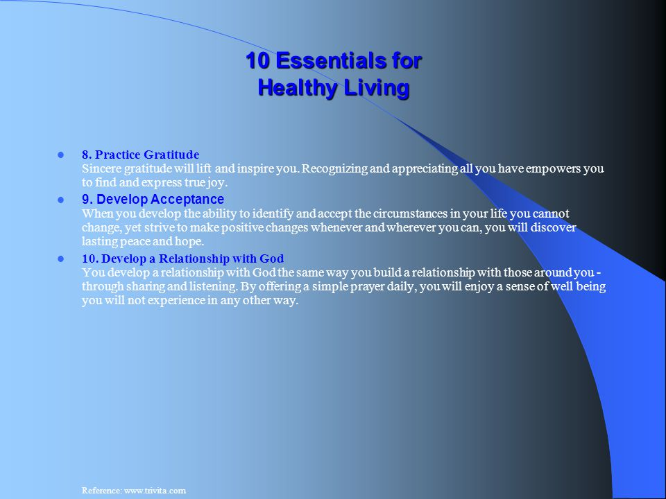 10 Essentials for Healthy Living