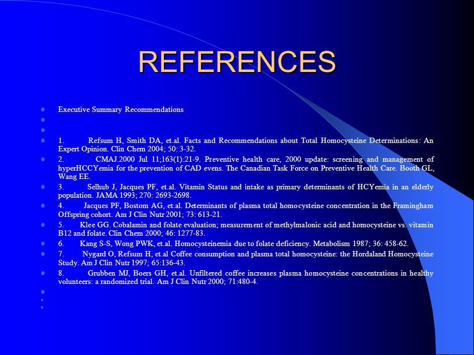 REFERENCES Executive Summary Recommendations