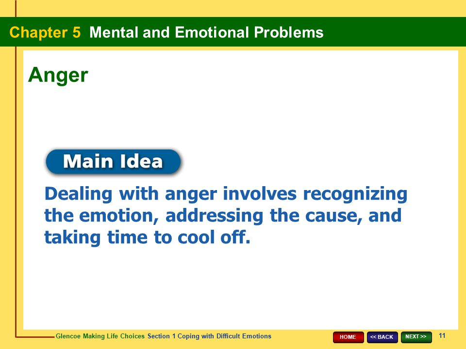Anger Dealing with anger involves recognizing the emotion, addressing the cause, and taking time to cool off.