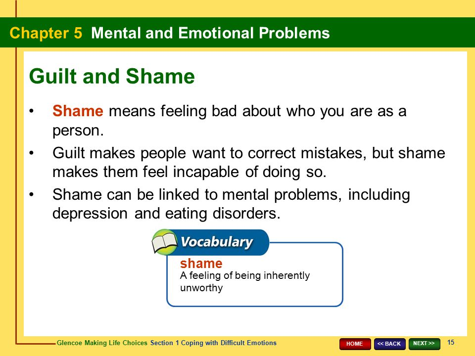 Guilt and Shame Shame means feeling bad about who you are as a person.