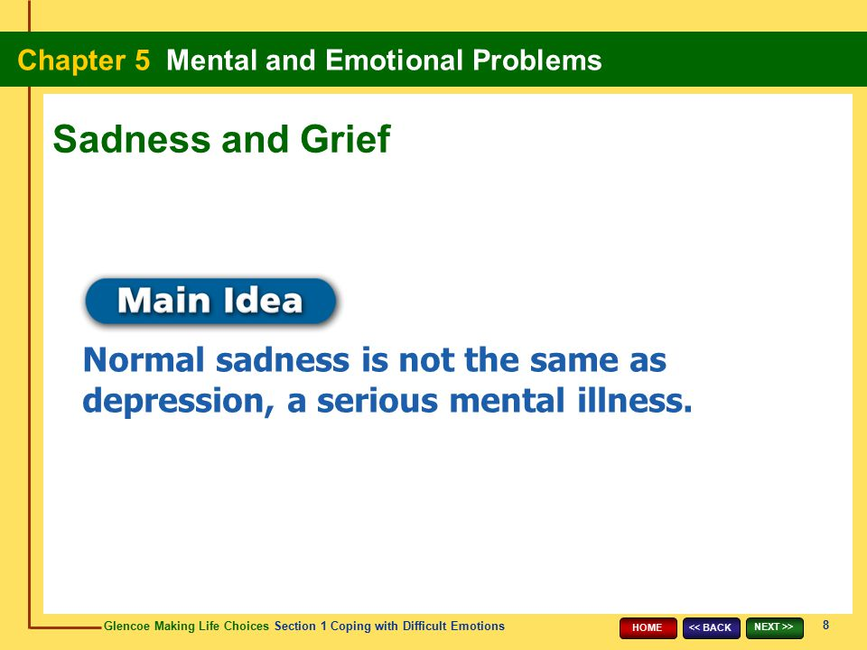 Sadness and Grief Normal sadness is not the same as depression, a serious mental illness. 8