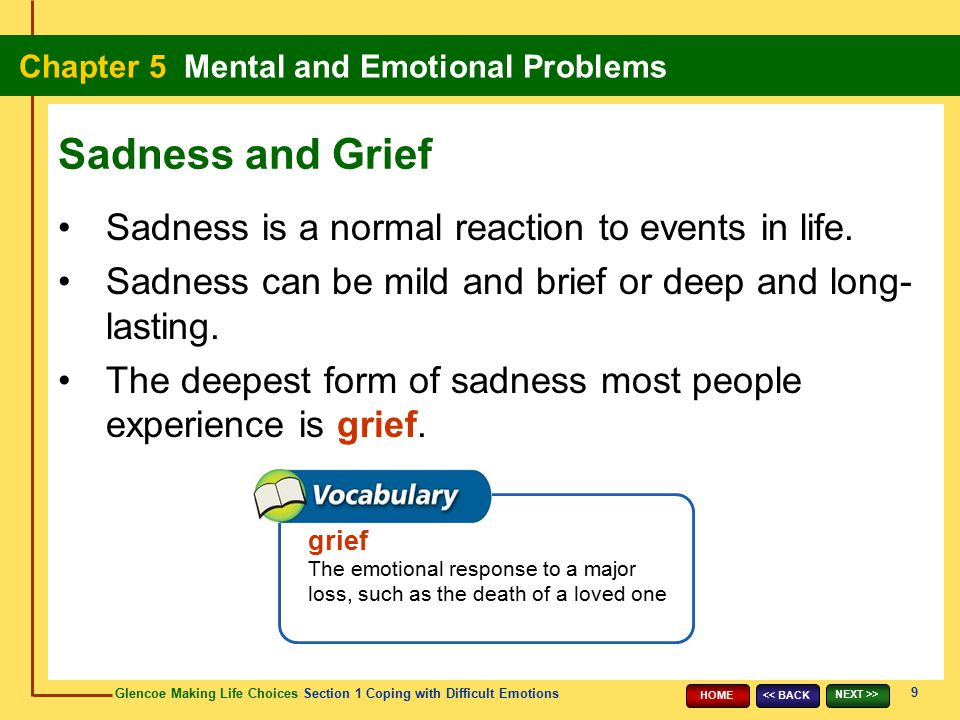 Sadness and Grief Sadness is a normal reaction to events in life.