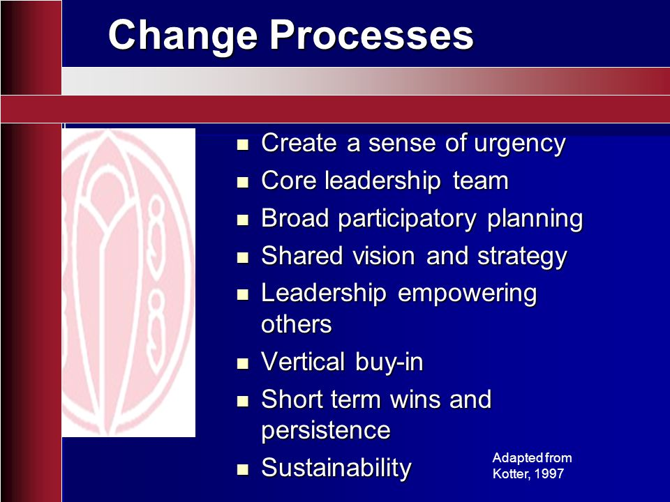 Change Processes Create a sense of urgency Core leadership team