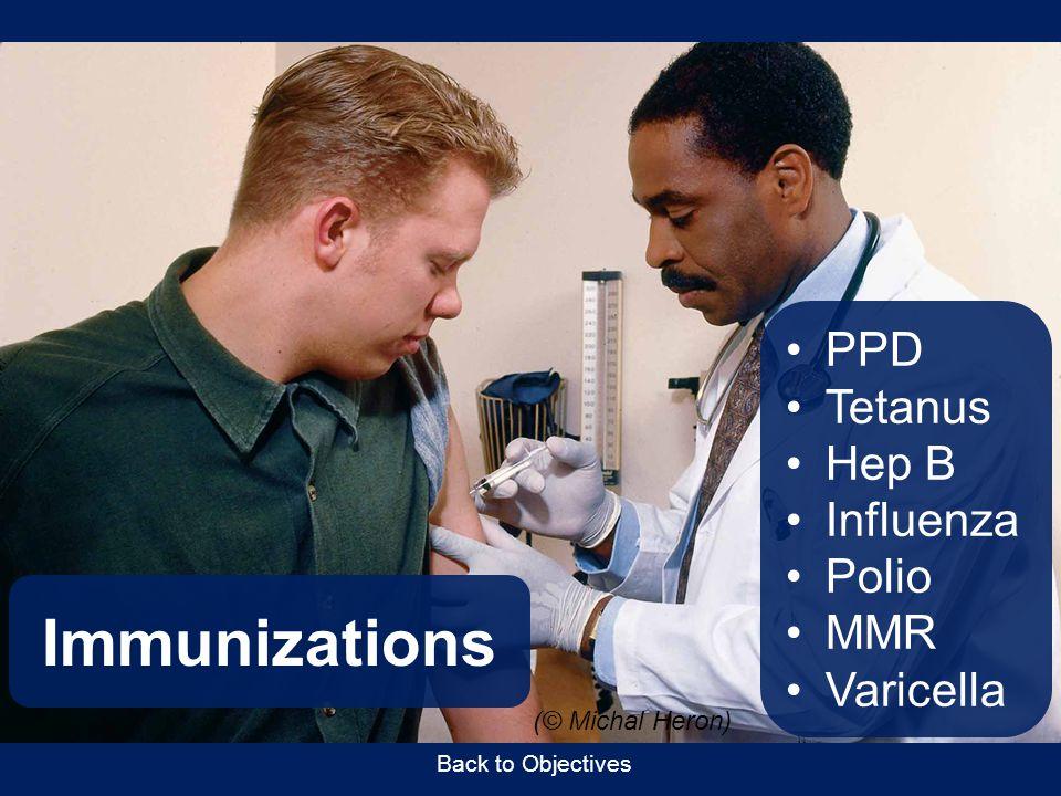 Immunizations PPD Tetanus Hep B Influenza Polio MMR Varicella