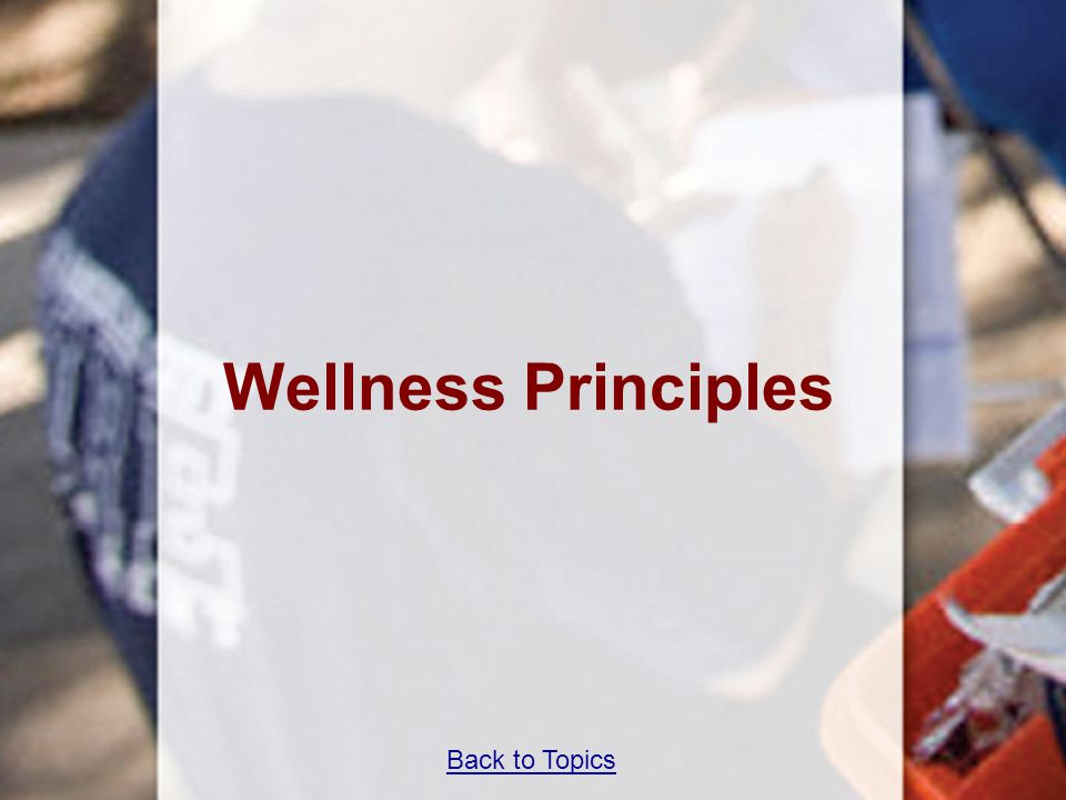 Wellness Principles Teaching Time 40 minutes Back to Topics 69