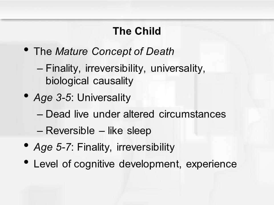 The Child The Mature Concept of Death. Finality, irreversibility, universality, biological causality.