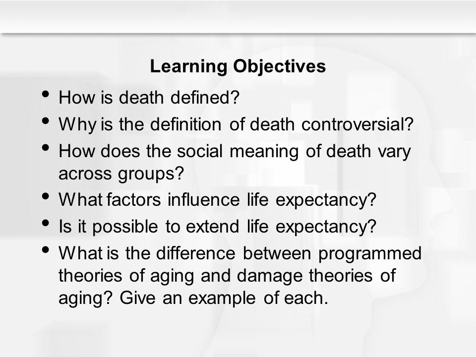 Learning Objectives How is death defined Why is the definition of death controversial How does the social meaning of death vary across groups