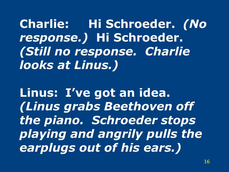 Charlie:. Hi Schroeder. (No response. ) Hi Schroeder