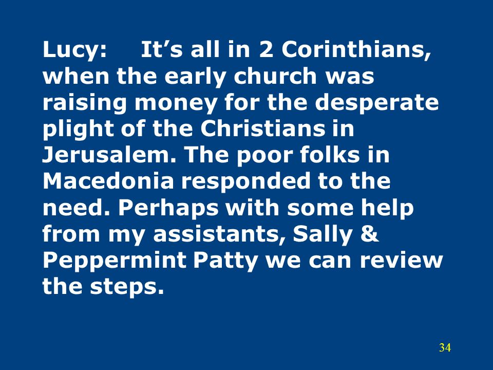 Lucy: It's all in 2 Corinthians, when the early church was raising money for the desperate plight of the Christians in Jerusalem.