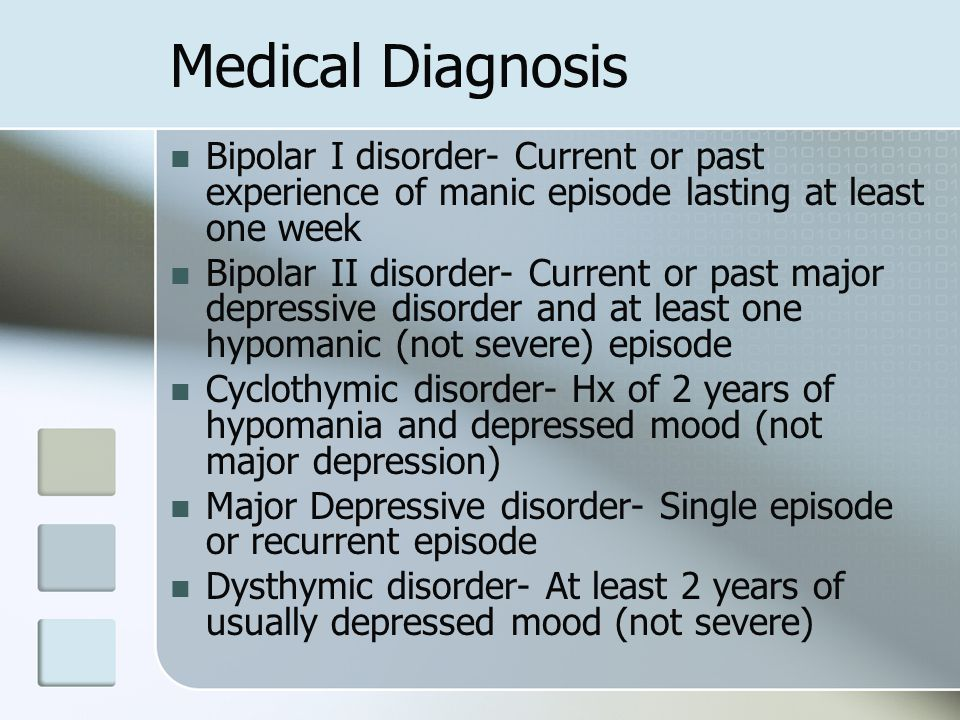 Medical Diagnosis Bipolar I disorder- Current or past experience of manic episode lasting at least one week.