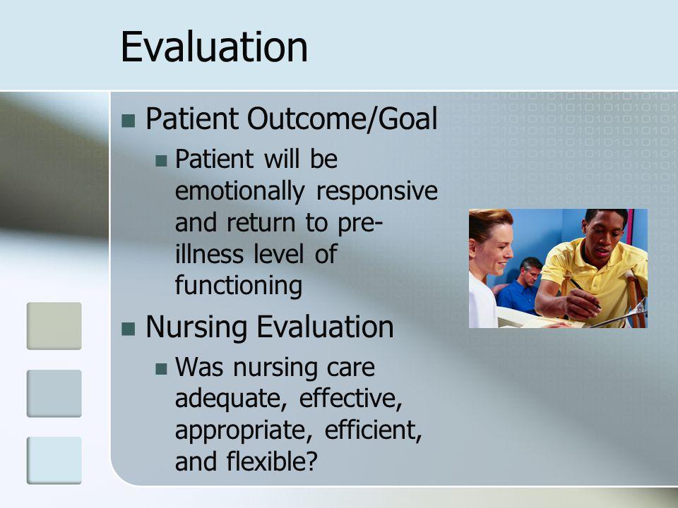 Evaluation Patient Outcome/Goal Nursing Evaluation