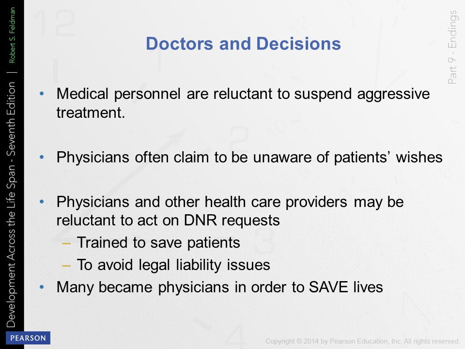 Doctors and Decisions Medical personnel are reluctant to suspend aggressive treatment. Physicians often claim to be unaware of patients' wishes.