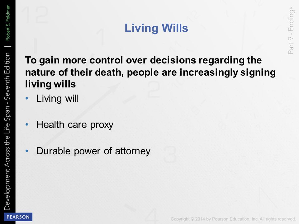 Living Wills To gain more control over decisions regarding the nature of their death, people are increasingly signing living wills.