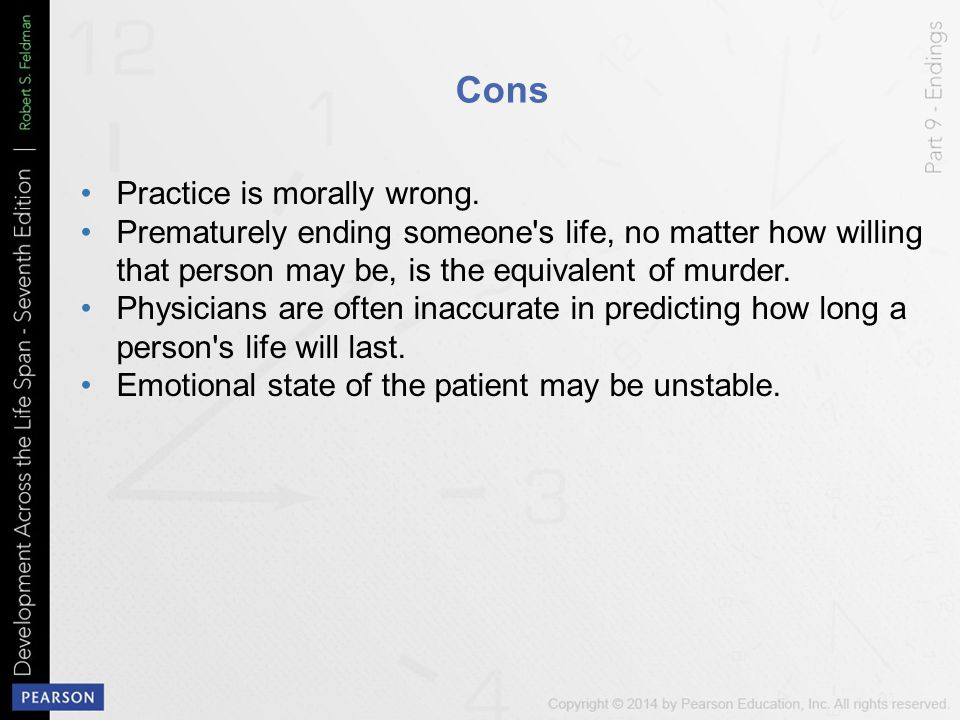 Cons Practice is morally wrong.