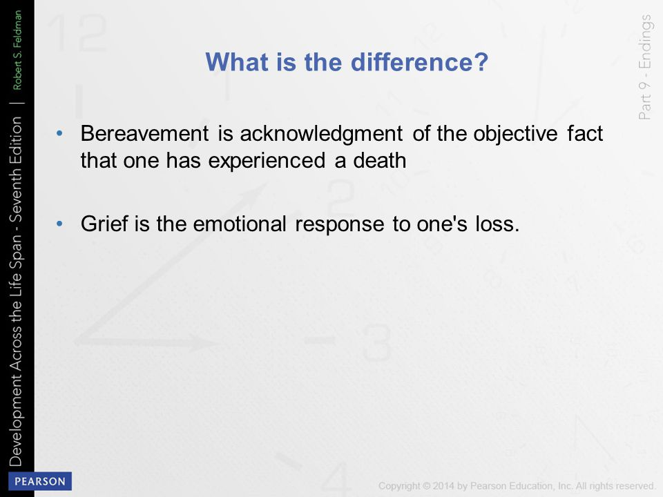 What is the difference Bereavement is acknowledgment of the objective fact that one has experienced a death.