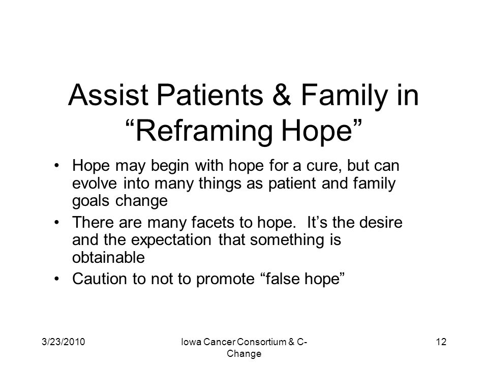 Assist Patients & Family in Reframing Hope