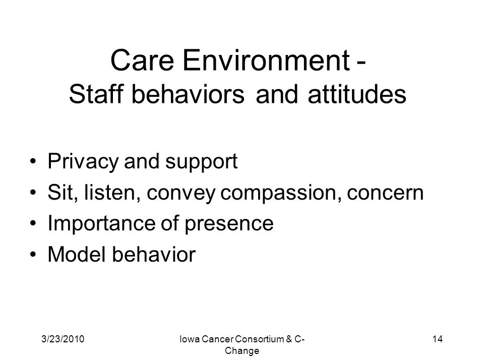 Care Environment - Staff behaviors and attitudes