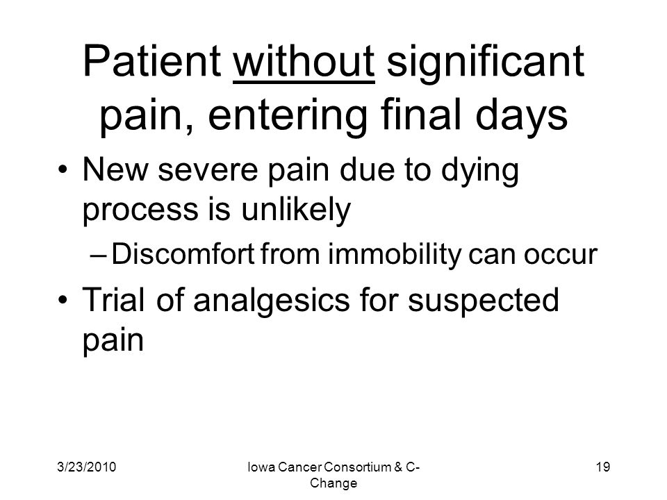 Patient without significant pain, entering final days