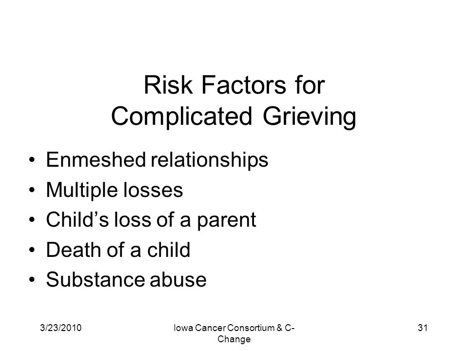 Risk Factors for Complicated Grieving