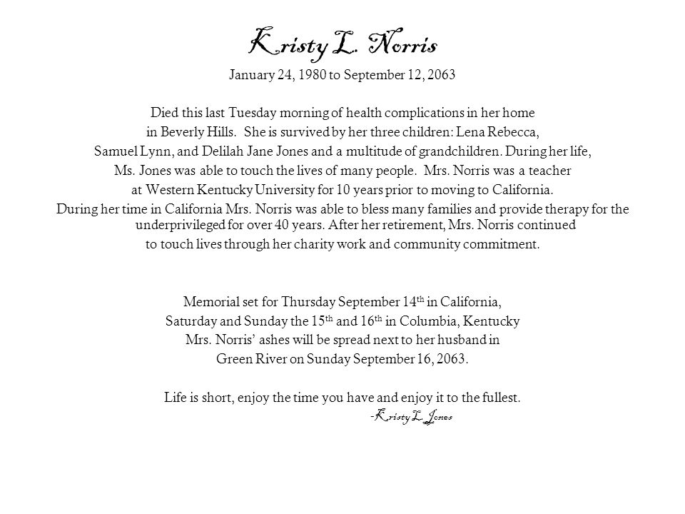Kristy L. Norris January 24, 1980 to September 12, 2063