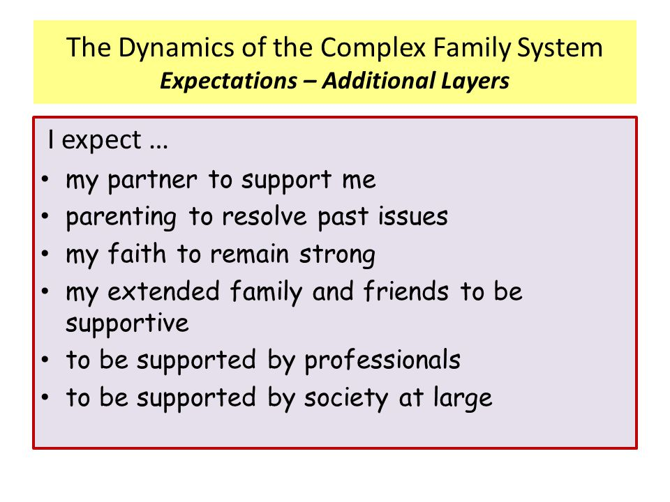 The Dynamics of the Complex Family System Expectations – Additional Layers