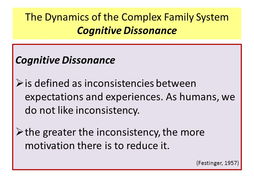 The Dynamics of the Complex Family System Cognitive Dissonance