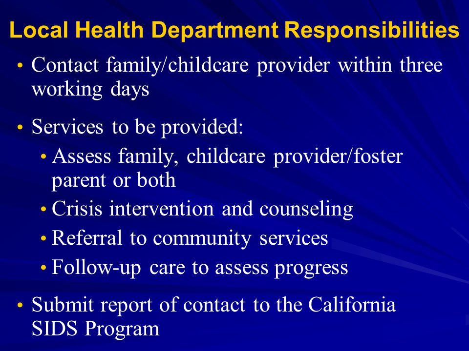 Local Health Department Responsibilities
