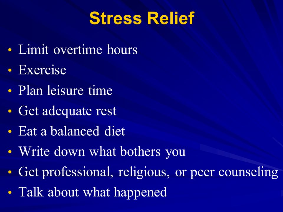 Stress Relief Limit overtime hours Exercise Plan leisure time